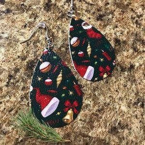 Faux leather Christmas earrings